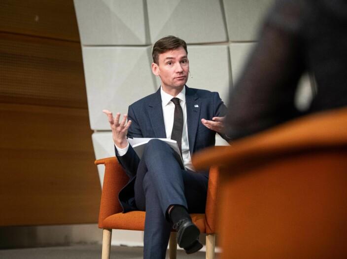 Oslo 20201030 - Statsråd Henrik Asheim fremlegger ny rapport om utveksling. ANSA og NHO også tilstede. Foto: Siri Øverland Eriksen