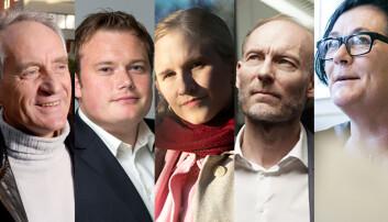 Her er juryen i Årets navn i akademia: f.v. Rune Slagstad, Jonas Stein, Minda Holm, Knut Olav Åmås og Tove Lie.