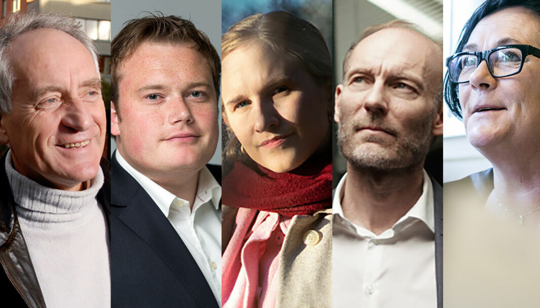 Juryen for Årets navn i akademia består av (fra venstre): Rune Slagstad, Jonas Stein, Minda Holm, Knut Olav Åmås og Tove Lie.