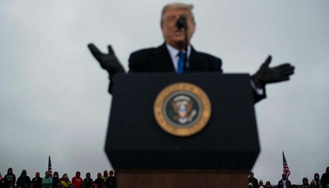 USAs president Donald Trump under et valgmøte i Michigan denne uka. Det er lite trolig at Trump blir gjenvalgt, mener historiker og forfatter Thomas Frank.