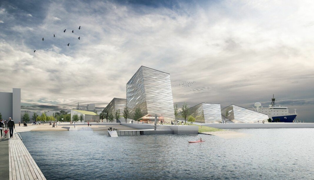 Havforskningsdirektør Sissel Rogne mener det er feil tidspunkt å kutte rundt ti prosent av byggekostnadene i det planlagte nybygget som skal huse Havforskningsinstituttet og Fiskeridirektoratet på Dokken i Bergen. Bildet er en skisse som er laget i forbindelse med visjonen for prosjektet.