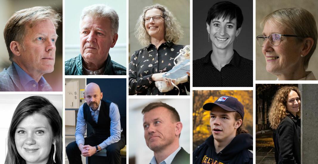 Noen av de som er foreslått til Årets navn i akademia: (fra øverst til venstre): Curt Rice, Svein Larsen, Anne Sverdrup-Thygeson, Ingunn Ikdahl, Anne Borg , Sofie Høgestøl, Aksel Tjora, Svenn-Erik Mamelund, Vebjørn Pedersen og Camilla Stoltenberg.
