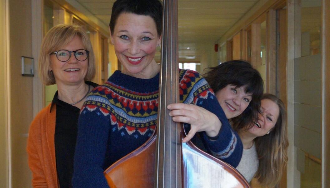 Årets innovatører på OsloMet, forskere bak prosjektet Trall. På bildet Elisabeth Anvik, Nina Engesnes, Liv Anna Hagen og Ingrid Danholt. I tillegg har Siri Haukenes vært sentral i arbeidet.