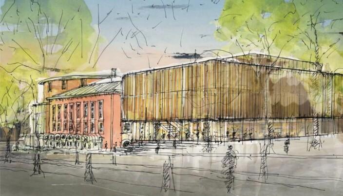 Studentersamfundet har hyra inn Eggen arkitekter som har teikna korleis utvidinga av bygget vil sjå ut.