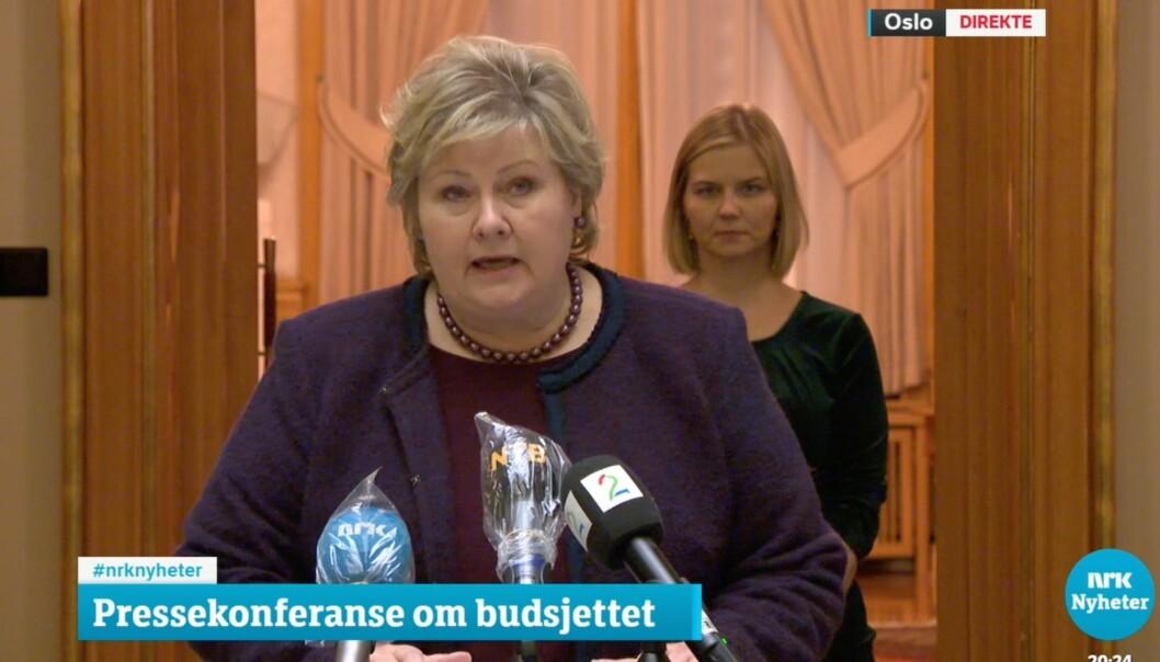 Erna Solberg under pressekonferansen der budsjettforliket ble presentert