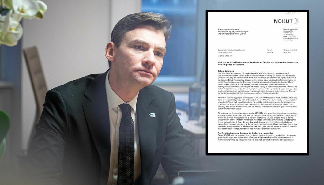 Kunnskapsdepartementet, her ved forsknings- og høyere utdanningsminister Henrik Asheim (H), kan ikke se i sine arkiver at brevet fra Nokut ble fulgt opp.