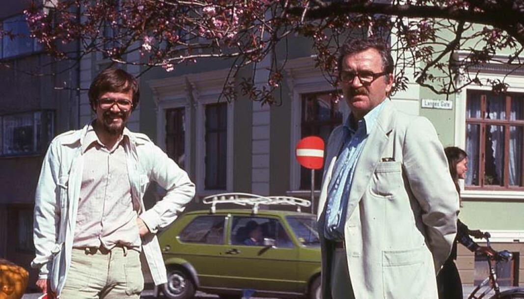 I 1977 var Kjell Bernstrøm (til venstre) vitenskapelig assistent for professor i sosialøkonomi ved UiB, Tor Rødseth. På denne tiden hadde Bernstrøm for lengst startet sin politiske glideflukt fra radikalisme til en sosialdemokratisk plattform .