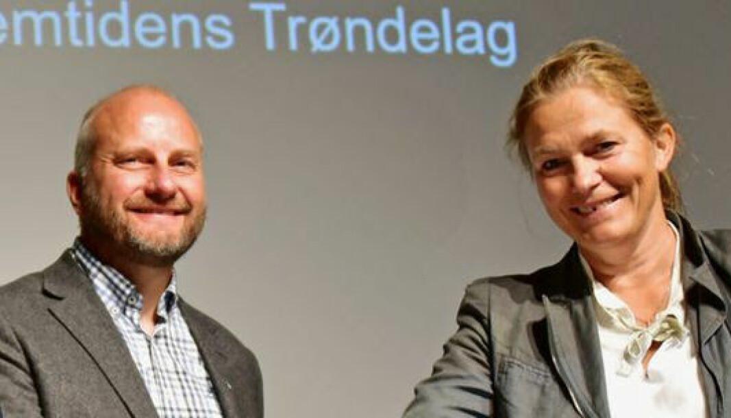 Konsernsjef Alexandra Bech Gjørv i SINTEF. er glad for at Trøndelag Forskning og Utvikling blir en del av Sintef. Her med direktør Øyvind Skogvold, Trøndelag Forskning og Utvikling og