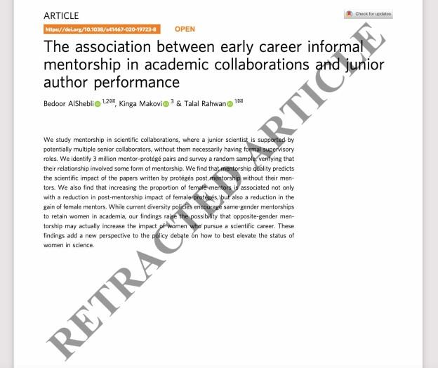 De advarte forskere mot kvinnelige mentorer, nå er artikkelen trukket tilbake