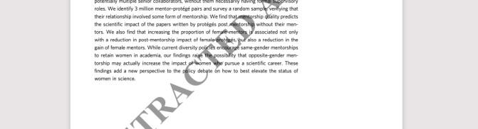 Advarte forskere mot kvinnelige mentorer, nå er artikkelen trukket tilbake