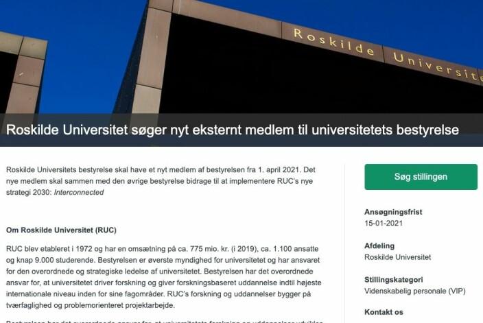 Slik ser stillingsannonsen for styremedlem til Roskilde universitet ut.