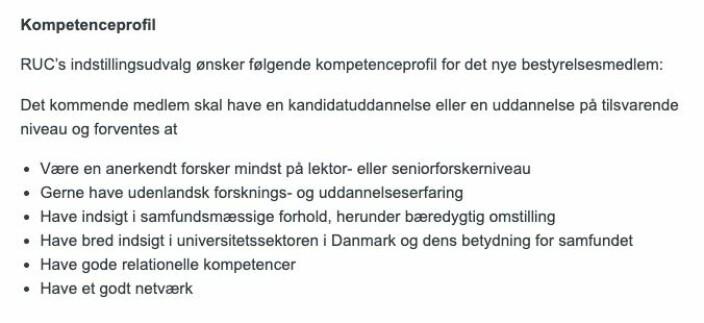 Dette kreves for å være styremedlem ved Roskilde universitet