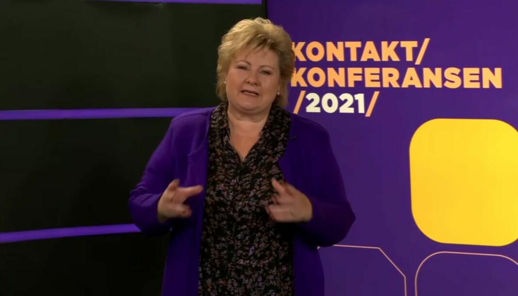 Erna Solberg under den digitale kontaktkonferansen i dag.