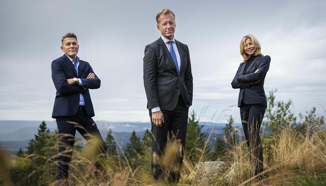 Avtroppende rektorat ved OsloMet - storbyuniversitetet (fv. Per Martin Norheim-Martinsen, Curt Rice, Nina Waaler) . Foto: Benjamin A. Ward / OsloMet