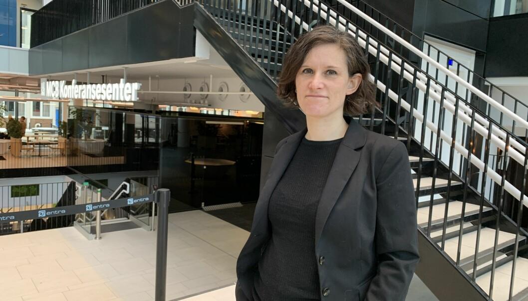 Medievitskap-professor Kristine Jørgensen held i til i noko av det ho meiner er viktig for UiB: Ei klynge. I Media City Bergen finn ein i tilleegg til UiB medieverksemder og teknologiverksemder.