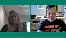 Forskerteamet May Østby og Ole Magnus Oterhals er etter hvert blitt vant med å måtte møtes slik. Her fra intervjuet med Khrono torsdag denne uken.