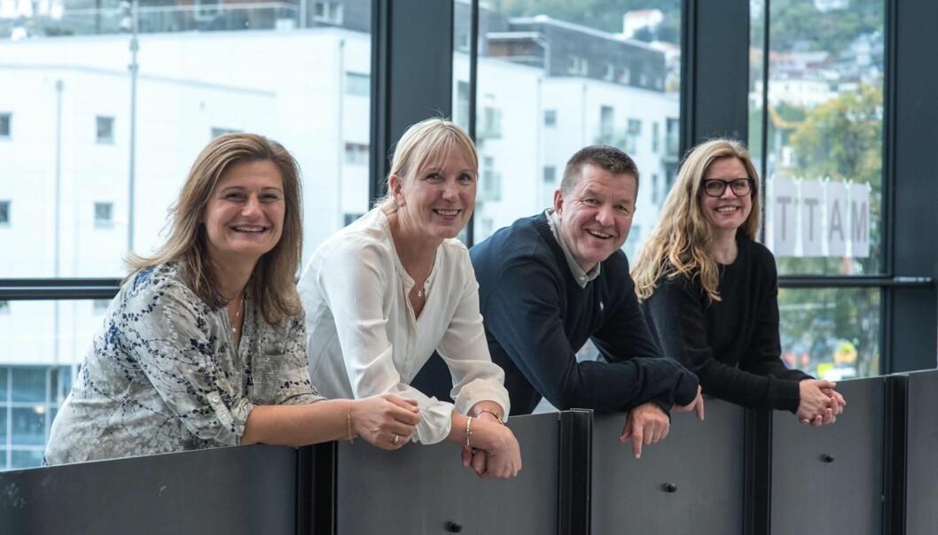 Valplattforma er ikkje offentleggjort endå. Men Margareth Hagen (nr 2 f.v.) stiller som rektorkandidat, og har Pinar Heggernes (t.v.), Gottfried Greve og Annelin Eriksen med på laget