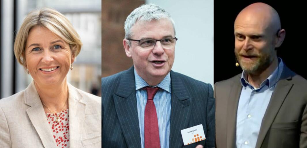 Kristin Vinje (Nokut), Harald Nybølet (Diku) og Roar Olsen (Unit) er toppledere i noen av de organene som skal omorganiseres.