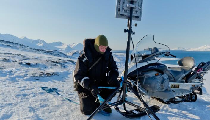 Operativ leder for droner i Norce, Nils Håheim Saers på jobb.