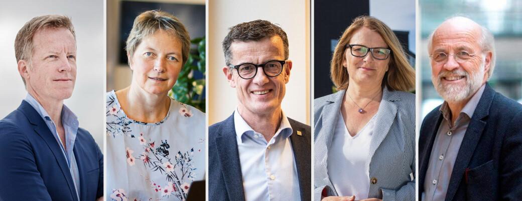 Rektorene i «nye U5» f.v. Curt Rice (OsloMet), Hanne Solheim Hansen (Nord universitet), Klaus Mohn (Universitetet i Stavanger), Sunniva Whittaker (Universitetet i Agder) og Petter Aasen (Universitetet i Sørøst-Norge.