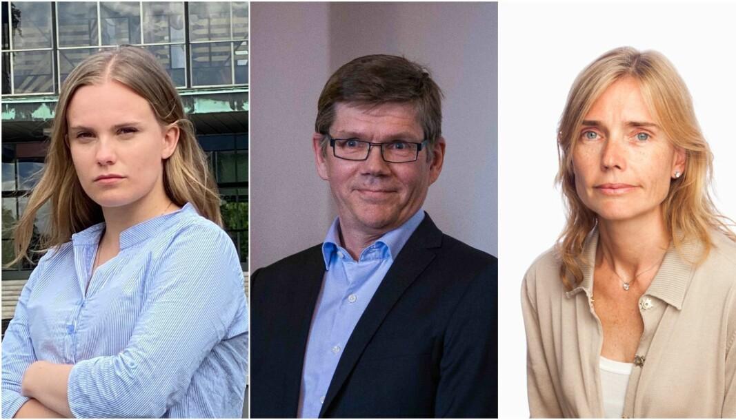 Studentparlamentsleder ved Universitetet i Oslo, Runa Fiske, rektor Svein Stølen og professor Karen Ulltveit-Moe lurer på om regjeringen har glemt de unge over 16 år.