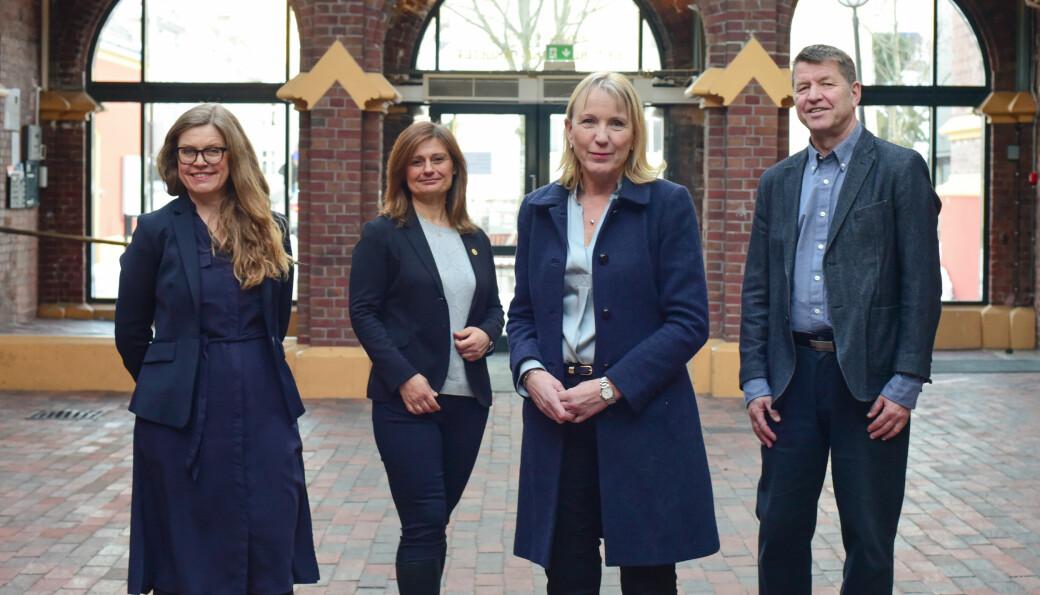 F.v. Annelin Eriksen, Pinar Heggernes, Margareth Hagen og Gottfried Greve ønsker å utgjøre den faglige ledelsen ved Universitetet i Bergen de neste fire årene.