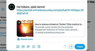 Du vil dele studien på twitter? Ok, men gir det noen klikk?