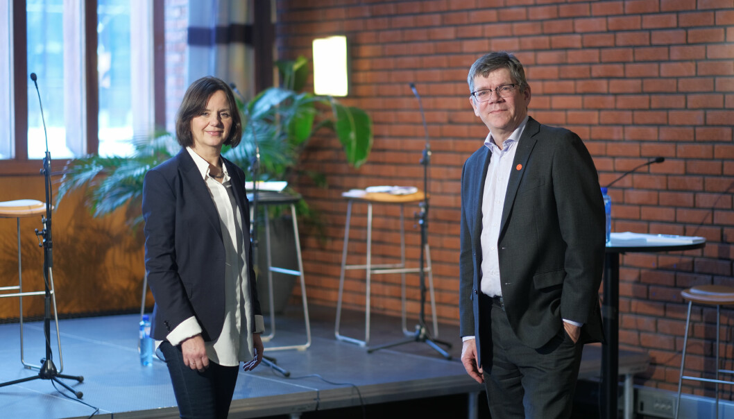 Rektordebatt ved UiO. Eneste kandidat er Svein Stølen og hans rektorteam med prorektorkandidat Åse Gornitzka.