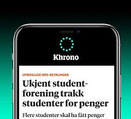 BLI VARSLETOM SISTE NYTTLast ned Khrono-appen og få varsel om de viktigste nyhetene - både nasjonalt og nær degLast ned til iPhone - Last ned til Android-