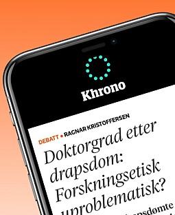 Bli varslet om debatt og nyheterLast ned Khrono-appen og få varsel om den viktigste debatt og de viktigste nyhetssakene.Last ned til iPhone - Last ned til Android-