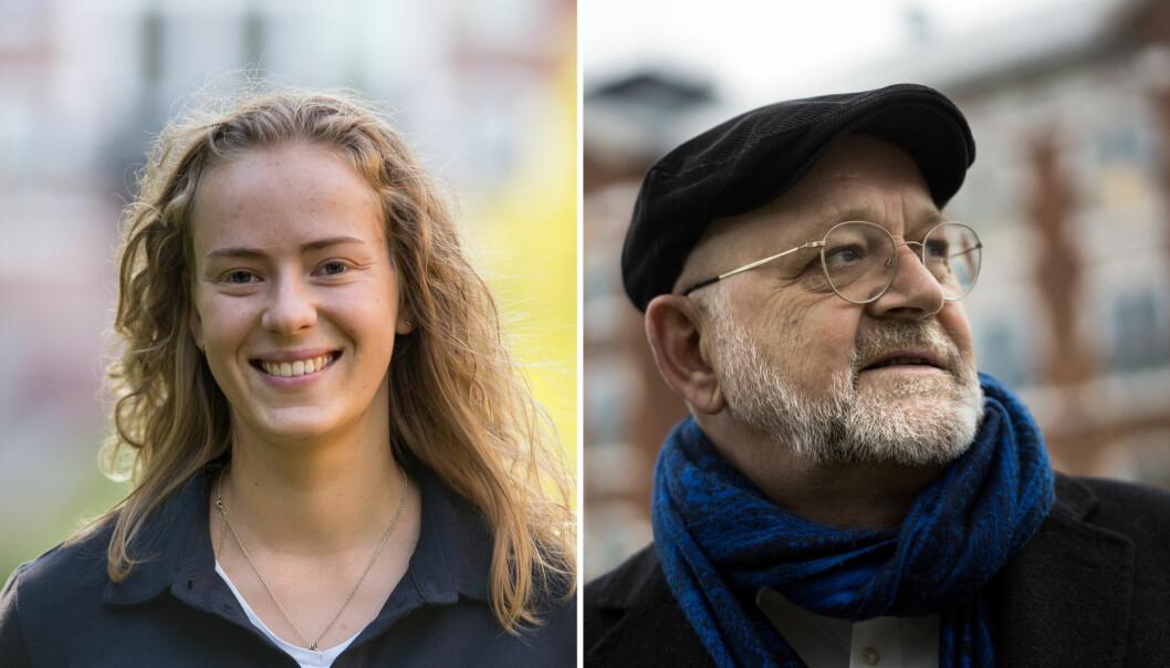 Studentleder Tuva Todnem Lund og rektor Sjur Baardsen er enige om at de vil ut av fond med olje og gass i porteføljen.