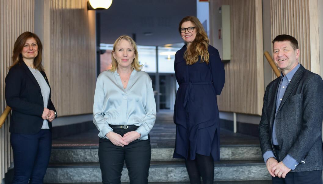 Pinar Heggernes (fra venstre), Margareth Hagen, Annelin Eriksen og Gottfried Greve utgjør Hagens rektorteam ved Universitetet i Bergen.