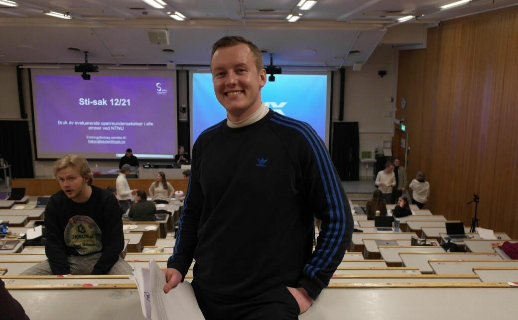 Hatmeldinger til tross, leder for Studenttinget Andreas Knudsen Sund er fornøyd med at saken har skapt engasjement.