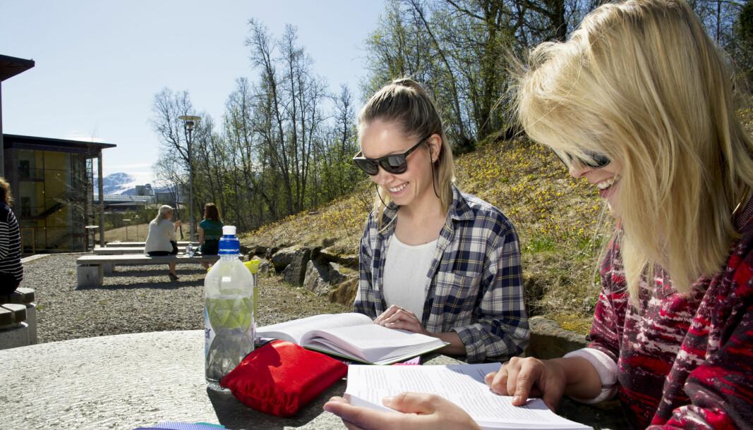Åtte av ti studenter ved UiT får jobb innen tre måneder etter endt utdanning, viser kandidatundersøkelse ved UiT Norges arktiske universitet. Her er det studenter ved juridisk fakultet som leser i sola.