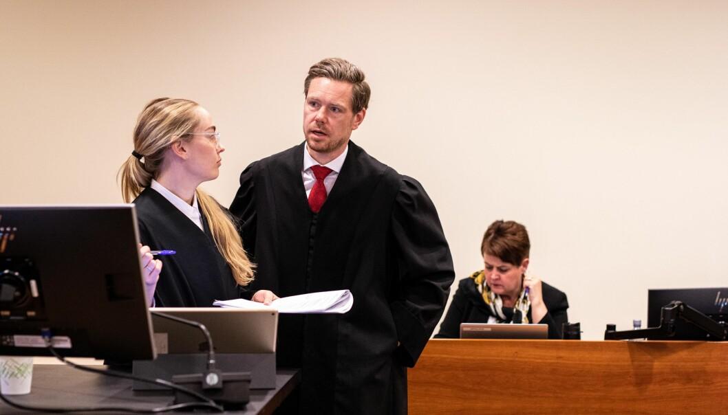 Regjeringsadvokatane Kaija Bjelland og Torje Sunde under behandlingen av ELTE-saken i Borgarting Lagmannsrett.