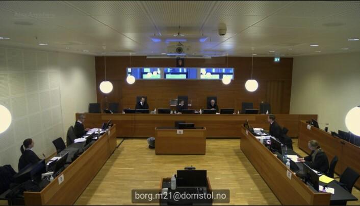 Slik har de fleste fulgt rettssaken i denne runden: digitalt. Til venstre sitter ELTE-studentenes advokater Hilde Kristin Ellingsen og Per Andreas Bjørgan, så er det lagdommerne, og til høyre regjeringsadvokatene Torje Sunde og Kaija Bjelland.