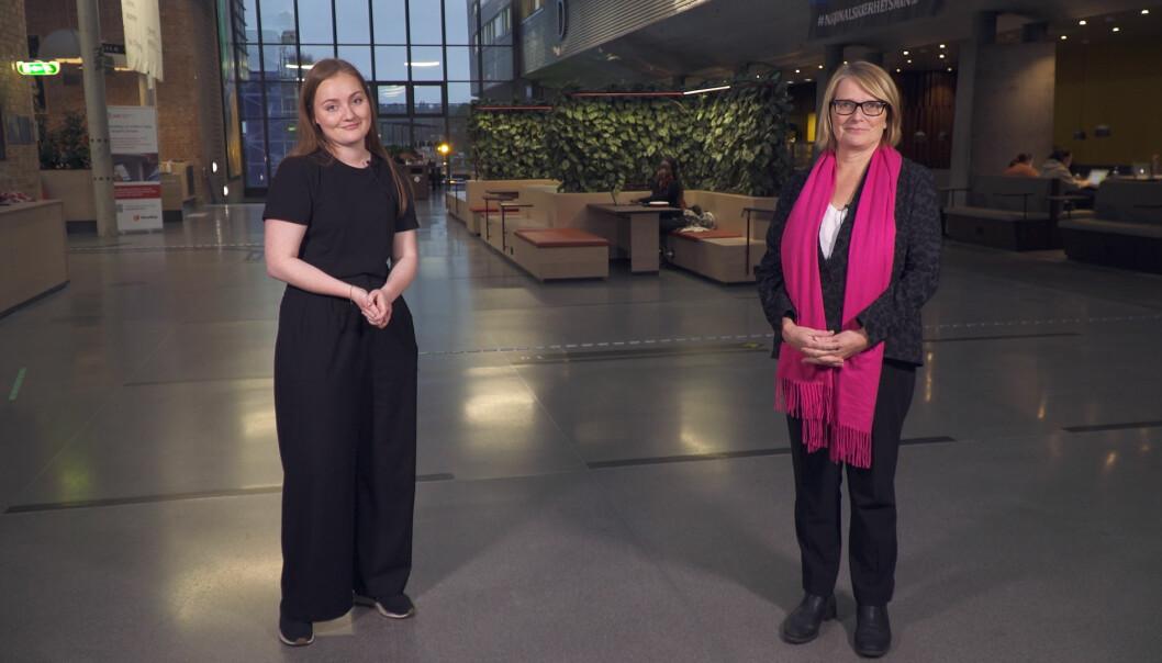 Studentleder Olea Norset og rektor Sunniva Whittaker ved Universitetet i Agder er bekymret for valgdeltakelsen til studentvalget.