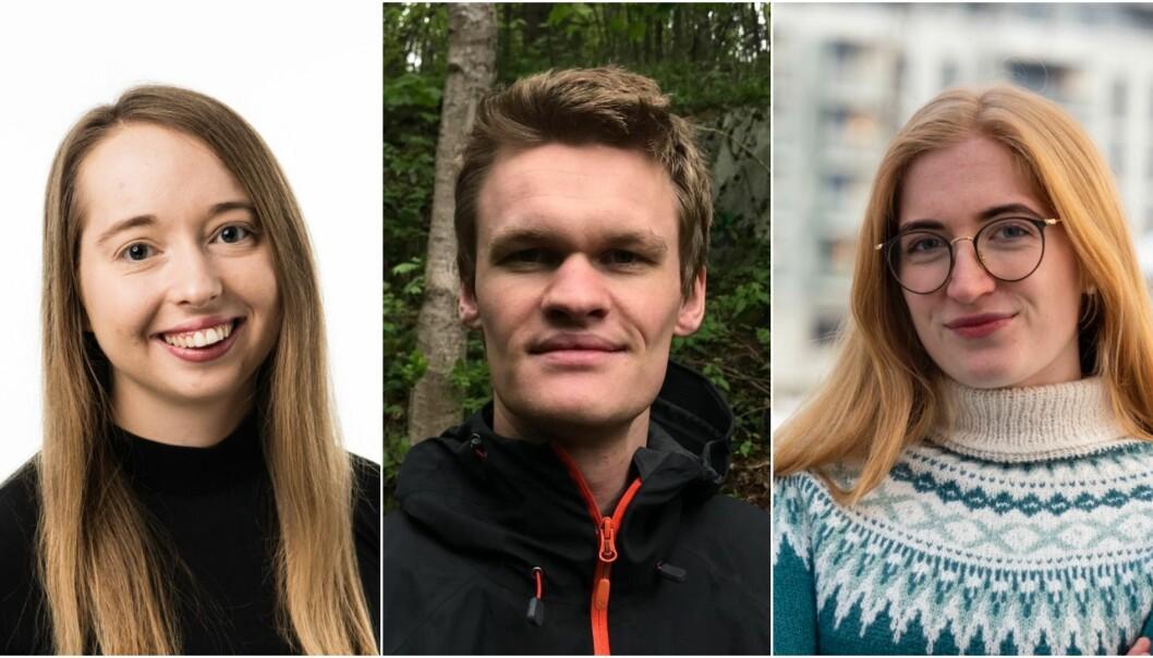 Nestleder Xenia Cappelen, styrerepresentant Andreas Schønberg-Moe og leder Maja Elisabeth Mikkelsen i Norsk medisinstudentforening ønsker helsefagstudenter frem i vaksinekøen.