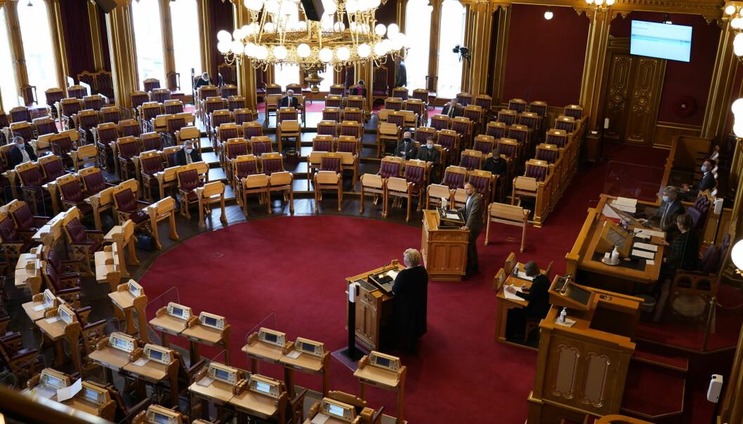 Tirsdag ettermiddag skal utdannings- og forskningskomiteen avsi sin innstilling til regjeringens styringsmelding. 18. mai skal saken opp til debatt og vedtak. Bilde fra den muntlige spørretimen onsdag i forrige uke.