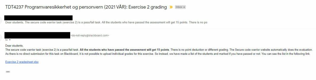 Denne e-posten med liste over navenene og karakter ble sendt ut til studentene i emnet TDT3237
