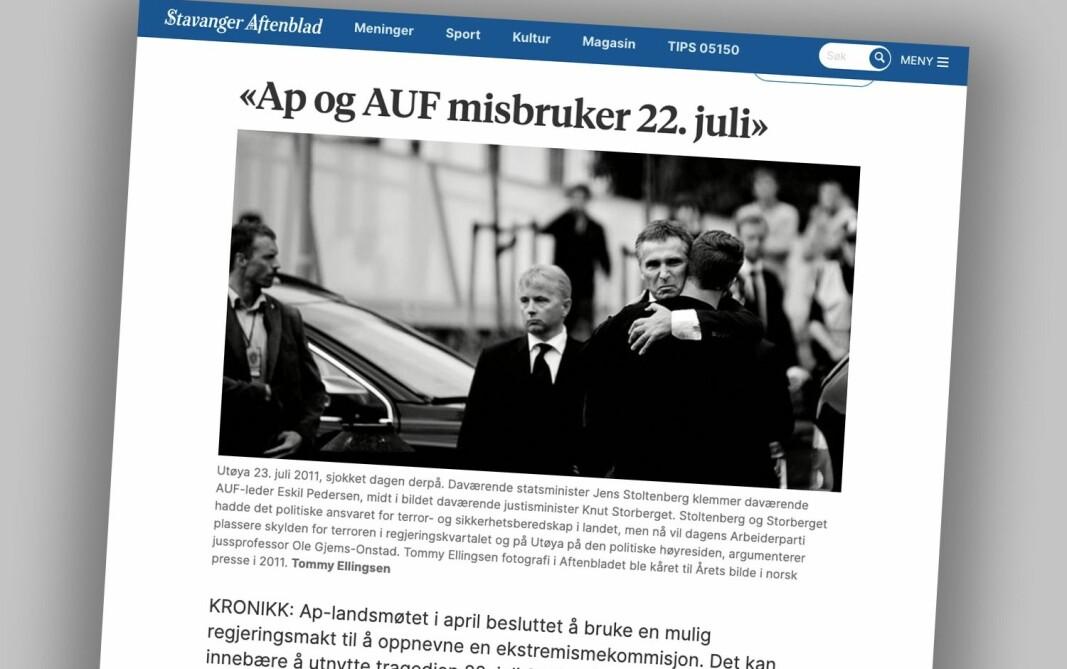 Innlegget fra Ole Gjems-Onstad stod på trykk i Stavanger Aftenblad forrige uke.