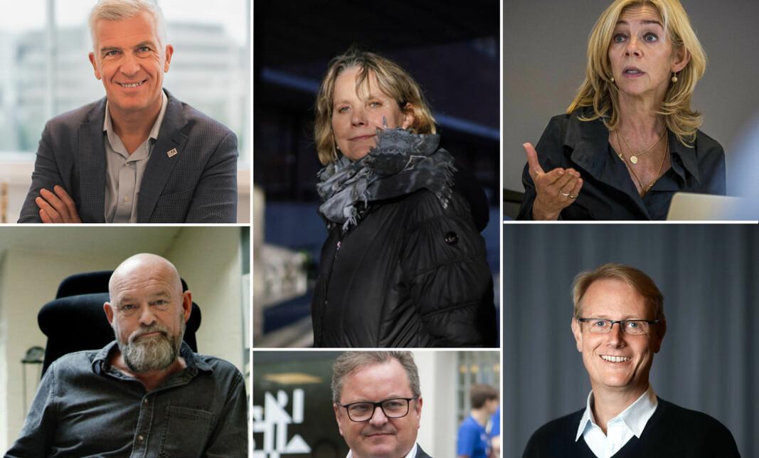 Her er et knippe av dem det snakkes om som mulig arvtaker etter rektor Curt Rice ved OsloMet. Øverst f.v.: Jørn Mortensen, Trine Syvertsen, Nina Waaler, Oddgeir Osland, Arne Krumsvik og Peter Tornquist.