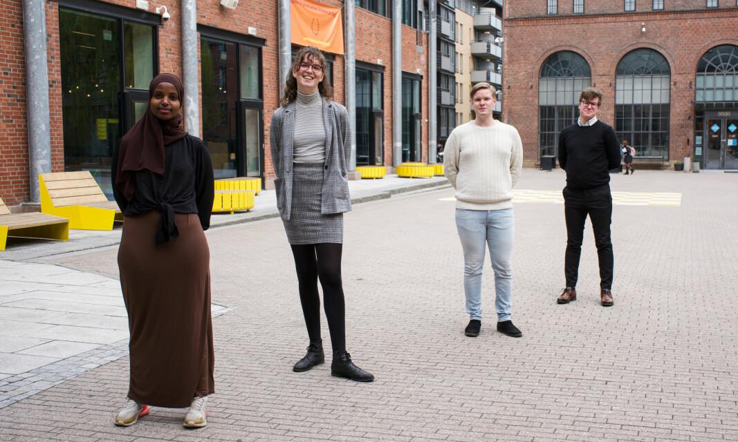 Det nyvalgte Arbeidsutvalget ved OsloMet . Fra venstre:Hilal Shide Gure (nestleder), Åse Berg Dybvik, Rolf Martin Aspenes (leder), Isak Grov Diesen.