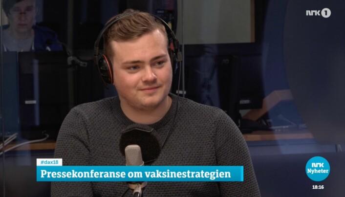 For NSO-leder Andreas Trohjell er onsdagen en bra dag. Her fra NRKs Dagsnytt18-studio.