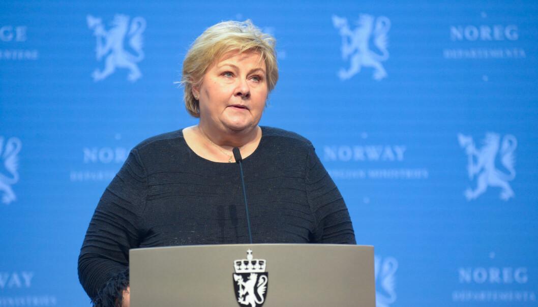 Statsminister Erna Solberg orienterte onsdag om endrede prioriteringer i regjeringens vaksinestrategi.