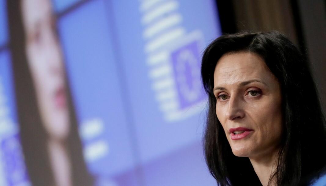 EU-kommisær Mariya Gabriel la fram arbeidsprogrammet under en pressekonferanse onsdag.
