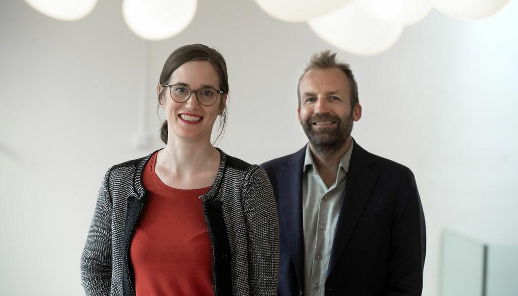 Malin Arve (til venstre) går fra stillingen som prorektor for utdanning til prorektor for forskning ved NHH. Stig Tenold blir et nytt tilskudd i rektoratet som ny prorektor for utdanning.