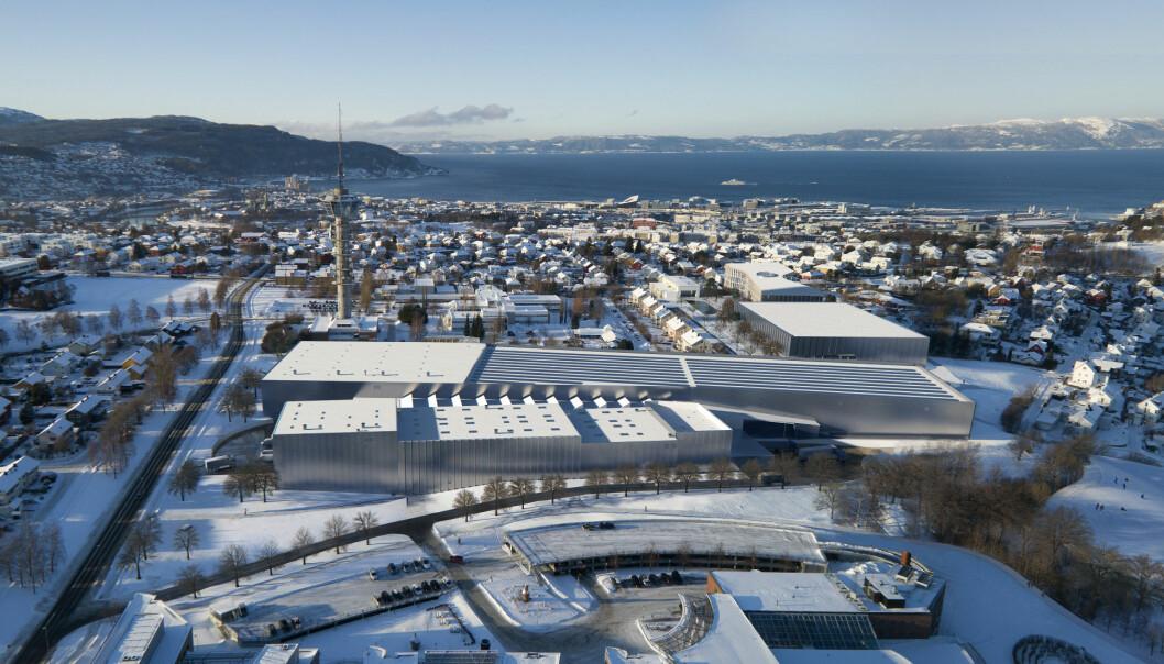 Slik er er Ocean Space Centre tegnet inn på Tyholt i Trondheim.