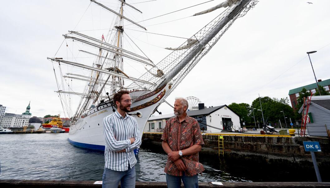 Birger Berge (til venstre) og Hans Munthe-Kaas går om bord i Statsraad Lemkuhl i sommar, men ikkje i Bergen.