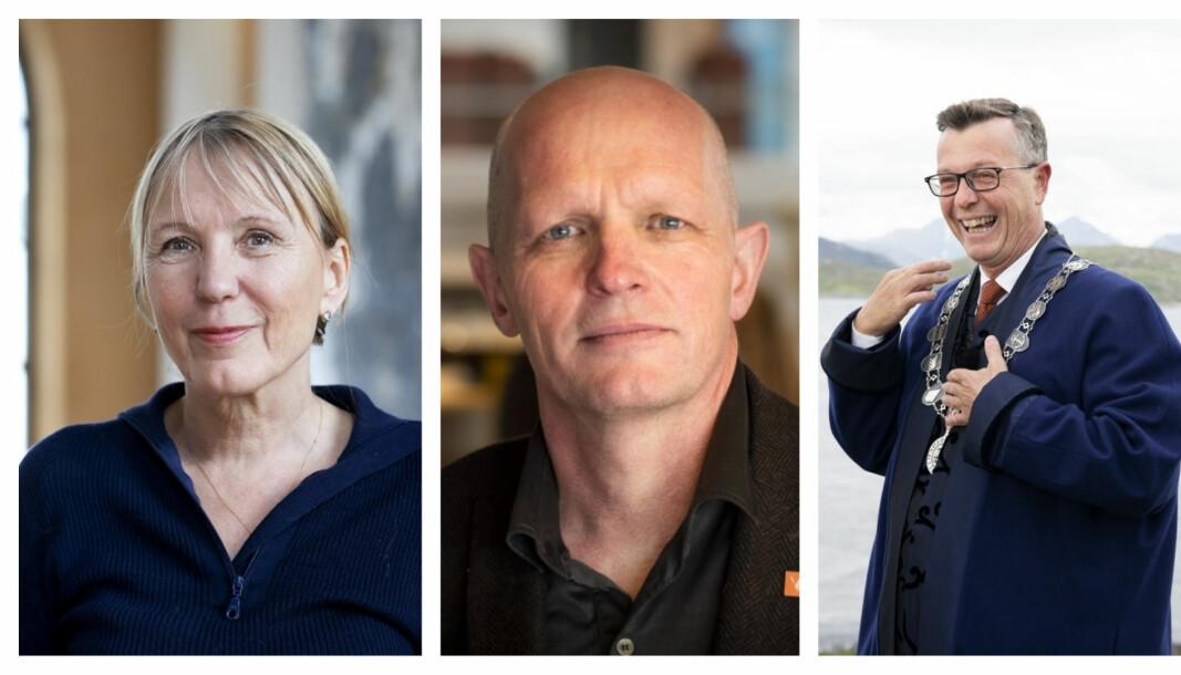 Påtroppende rektor ved UIB Margareth Hagen, rektor ved HVL Gunnar Yttri og påtroppende rektor ved UIT Dag Rune Olsen er alle skeptiske til en heldigital arbeisdag.